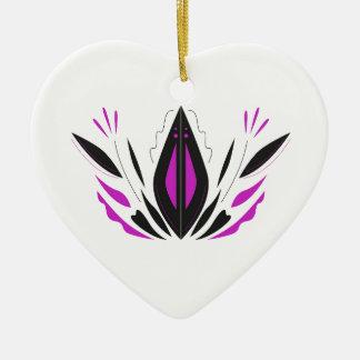 Ornement Cœur En Céramique Blackwhite peint à la main de LOTUS
