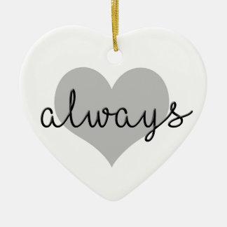 Ornement Cœur En Céramique blanc moderne toujours simple de noir de coeur
