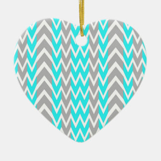 Ornement Cœur En Céramique Bleu au néon avec les ailerons gris