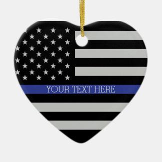 Ornement Cœur En Céramique Blue Line mince - drapeau américain