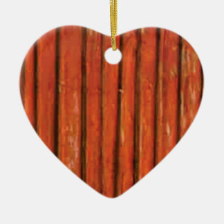 Ornement Cœur En Céramique bois orange-foncé