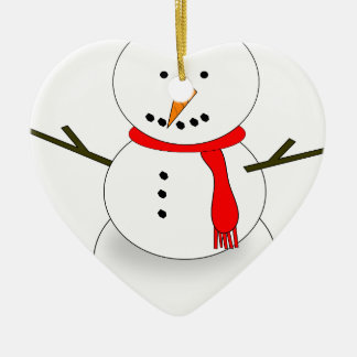 Ornement Cœur En Céramique Bonhomme de neige de Joyeux Noël
