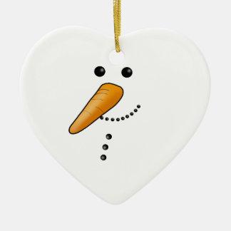 Ornement Cœur En Céramique Bonhomme de neige mignon