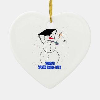 Ornement Cœur En Céramique Bonhommes de neige de graduation - YAY ! Vous