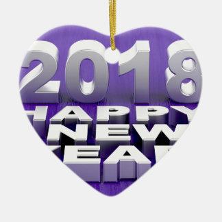 Ornement Cœur En Céramique Bonne année 2018