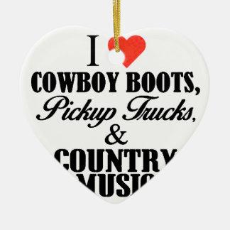 Ornement Cœur En Céramique bottes de cowboy du coeur i b