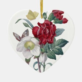 Ornement Cœur En Céramique bouquet d'anémone et d'oeillets