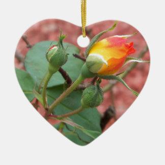 Ornement Cœur En Céramique bourgeon rose jaune et d'orange
