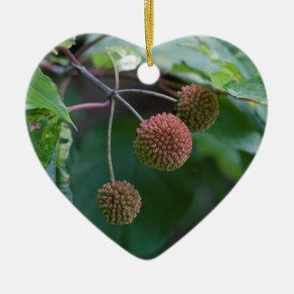 Ornement Cœur En Céramique Bourgeons de fleur sauvage de Bush de bouton