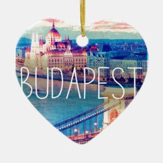 Ornement Cœur En Céramique Budapest, vintage affiche