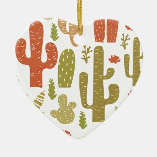Ornement Cœur En Céramique cactus