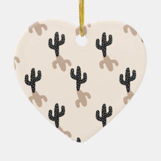 Ornement Cœur En Céramique Cactus noirs dans le désert rose