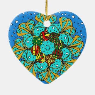 Ornement Cœur En Céramique cadeau de Noël de babiole