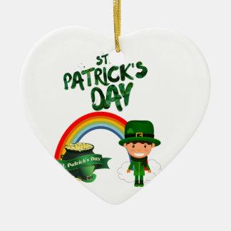 Ornement Cœur En Céramique Cadeaux du jour de St Patrick