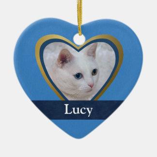 Ornement Cœur En Céramique Cadre customisé de photo d'animal familier de