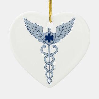 Ornement Cœur En Céramique Caducée avec l'icône d'étoile des ailes EMT de