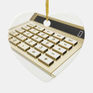 Ornement Cœur En Céramique Calculatrice d'or