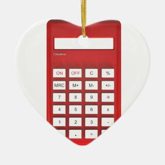 Ornement Cœur En Céramique Calculatrice rouge de calculatrice