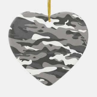 Ornement Cœur En Céramique Camo gris