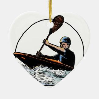 Ornement Cœur En Céramique Canoë Scratchboard de Paddler de kayak