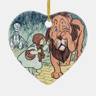 Ornement Cœur En Céramique Caractères vintages de magicien d'Oz, route jaune