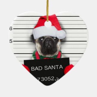 Ornement Cœur En Céramique Carlin de Noël - chien de photo - carlin de père
