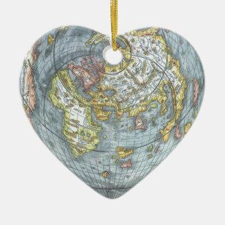 Ornement Cœur En Céramique Carte antique en forme de coeur vintage Peter du