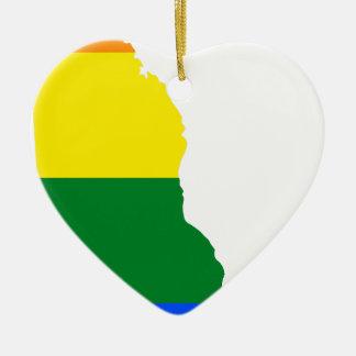 Ornement Cœur En Céramique Carte de drapeau du Delaware LGBT