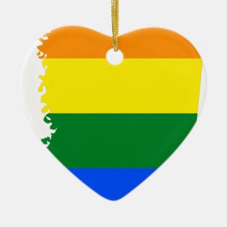 Ornement Cœur En Céramique Carte de drapeau du Mississippi LGBT