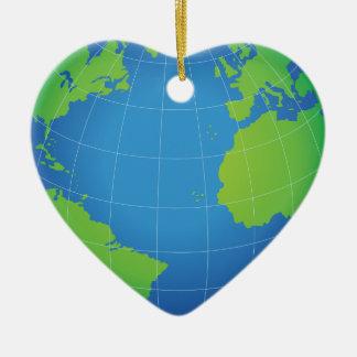 Ornement Cœur En Céramique Carte de globe du monde