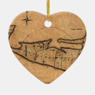 Ornement Cœur En Céramique Carte de Nantucket 1782
