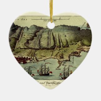 Ornement Cœur En Céramique Carte du Gibraltar 1765