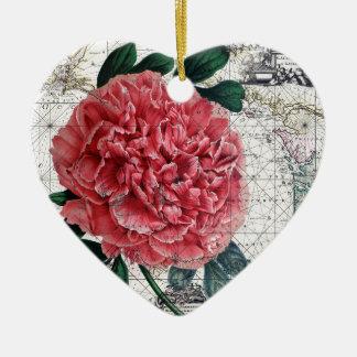 Ornement Cœur En Céramique Carte rouge de pivoine