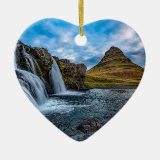 Ornement Cœur En Céramique Cascade en Islande l'Europe