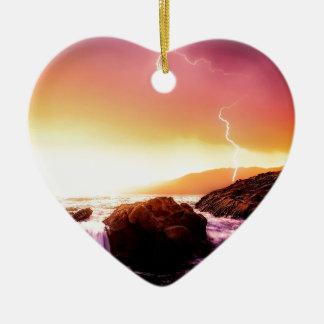 Ornement Cœur En Céramique cascade et coucher du soleil de la Californie