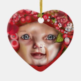 Ornement Cœur En Céramique Casquette de Noël