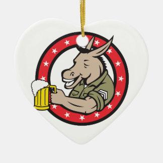 Ornement Cœur En Céramique Cercle de buveur de bière d'âne rétro