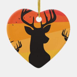 Ornement Cœur En Céramique Cercle de cerfs communs