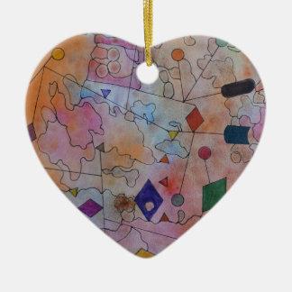 Ornement Cœur En Céramique Cerfs-volants et ballons