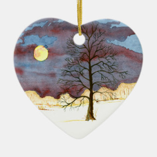 Ornement Cœur En Céramique Champ d'hiver