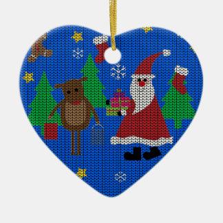 Ornement Cœur En Céramique Chandail laid de Noël