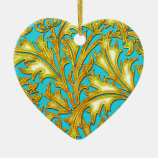 Ornement Cœur En Céramique Chardon bleu d'or