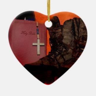 Ornement Cœur En Céramique Chasseur américain
