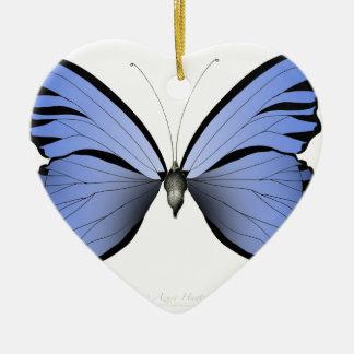 Ornement Cœur En Céramique Chasseur bleu d'azur du papillon 2