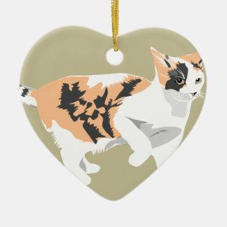Ornement Cœur En Céramique Chat