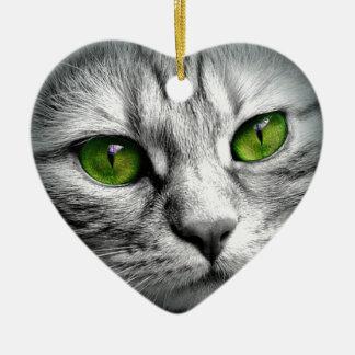 Ornement Cœur En Céramique chat aux yeux verts