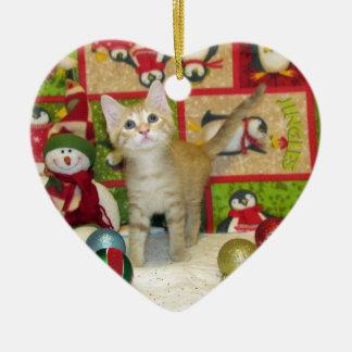 Ornement Cœur En Céramique Chat, chaton, Noël, délivrance, photo