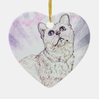 Ornement Cœur En Céramique Chat curieux par Carol Zeock