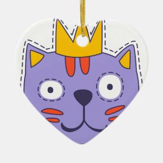 Ornement Cœur En Céramique Chat dans une couronne