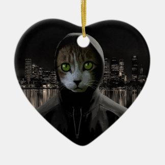 Ornement Cœur En Céramique Chat de Gangsta